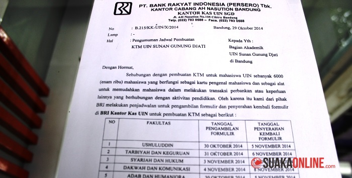 Surat pemberitahuan pembuatan KTM di Bank BRI UIN SGD Bandung. (Foto: Dede Lukman Hakim)