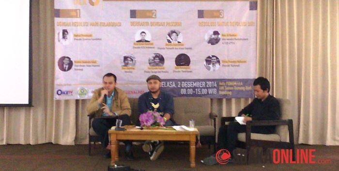 Acara Young Leader Talk 8 yang digagas oleh Himpunan Mahasiswa Jurusan (HMJ) Jurnalistik, Selasa (2/12/2014) di Aula Fakultas Dakwah dan Komunikasi. (Foto: Anisyah A. F)