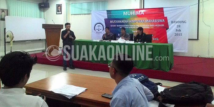 Senat Fakultas Syariah dan Hukum menyeleggarakan Musyawarah Himpunan Mahasiswa, Sabtu (28/02/2015). Bobi Herlambang terpilih sebagai Ketua Umum Sema FSH periode 2015/2016. (Fadli Robbi/ Suaka)