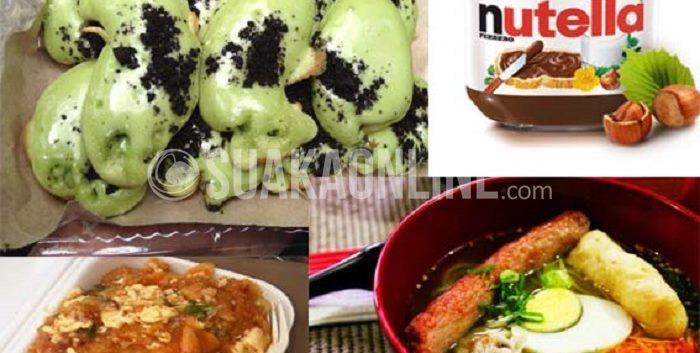 Beberapa kuliner yang pernag ngehits di Bandung. Diantaranya nutella, ramen, seblak, dan grentea
