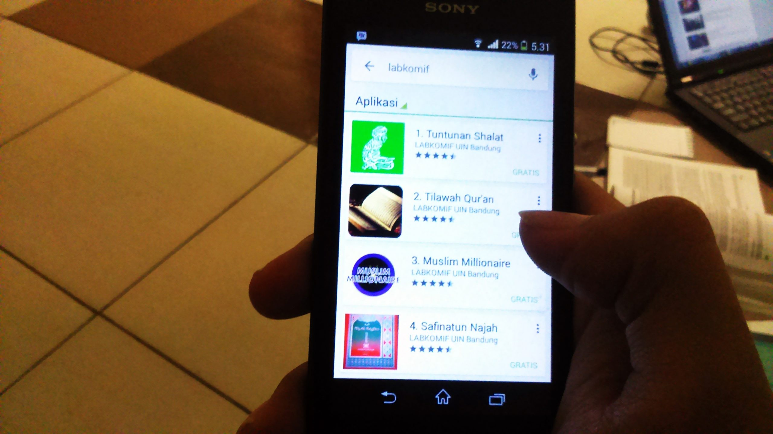 Berbagai Aplikasi android yang di unggah oleh Labkomif UIN SGD Bandung pada Playstore.