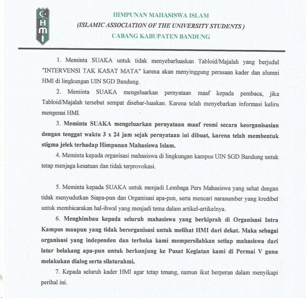 Pernyataan Sikap Himpunan Mahasiswa Islam Cabang Kabupaten